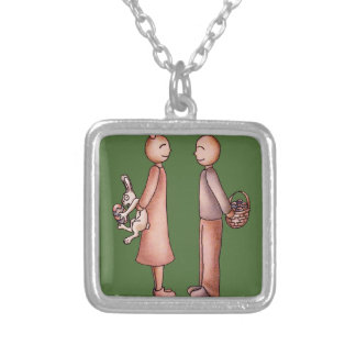 Funny Cartoon of Girl Giving Boy Easter Bunny Square Pendant Necklace