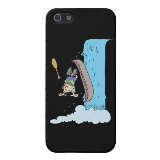 funny cartoon over the waterfall in canoe case for iPhone SE/5/5s