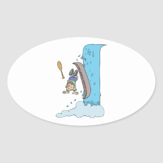 funny cartoon over the waterfall in canoe oval sticker