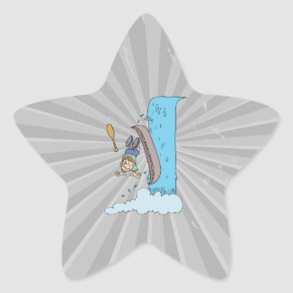 funny cartoon over the waterfall in canoe star sticker