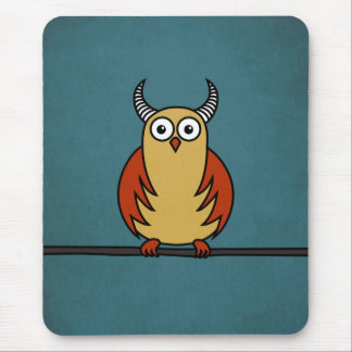 Funny Cartoon Owl With Horns Mouse Pads
