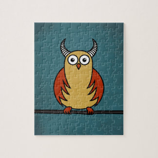 Funny Cartoon Owl With Horns Puzzle