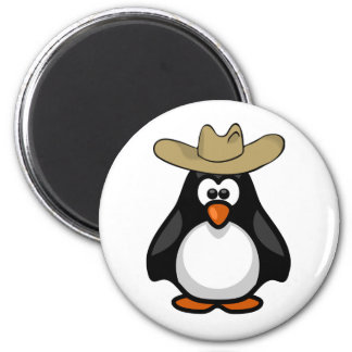 Funny Cartoon Paddy Penguin Cowboy Hat 2 Inch Round Magnet
