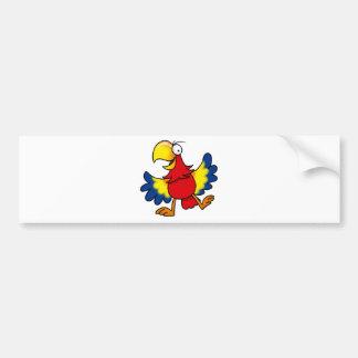 Funny cartoon parrot car bumper sticker