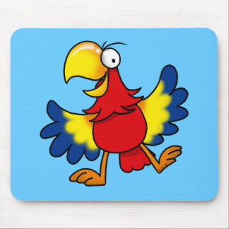 Funny cartoon parrot mouse pad