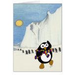 Funny cartoon penguin dancing. greeting card