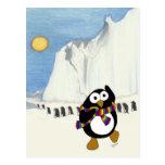 Funny cartoon penguin dancing. postcards