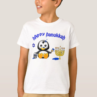 Funny Cartoon Penguin Happy Hanukkah T-Shirt