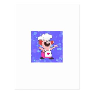 Funny Cartoon Pig Chef Post Cards