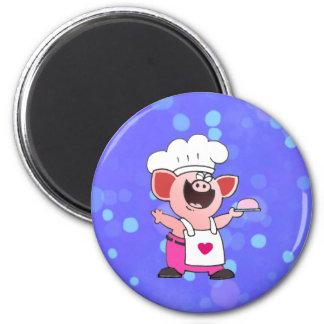 Funny Cartoon Pig Chef  Shirt   Funny Piggy Chef T Magnets