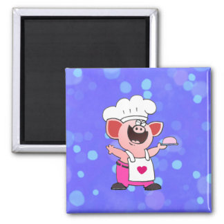 Funny Cartoon Pig Chef  Shirt   Funny Piggy Chef T Refrigerator Magnets