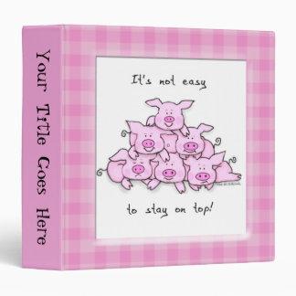 Funny Cartoon Pig School Binder