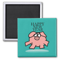 Funny Cartoon Pig Year 2019 Choose Color Magnet