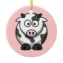 Funny Cartoon Pink Nose Round Cow Ceramic Ornament