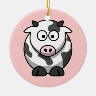 Funny Cartoon Pink Nose Round Cow Ceramic Ornament