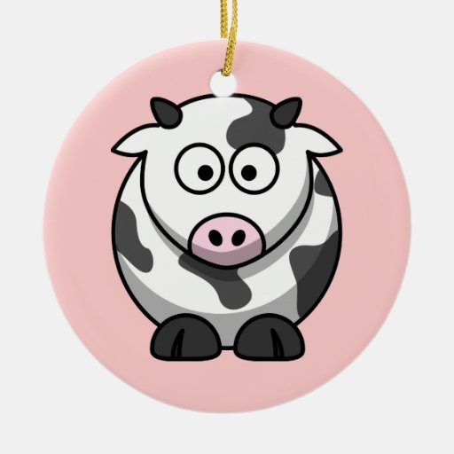 Funny Cartoon Pink Nose Round Cow Christmas Tree Ornament