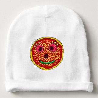 funny cartoon pizza face baby beanie