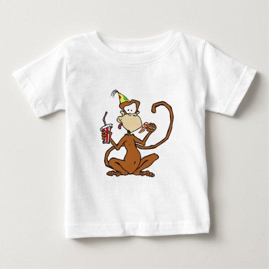 Funny Cartoon Pizza Monkey Baby T-Shirt