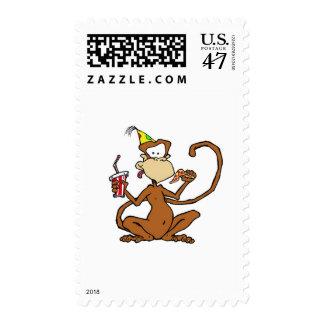 Funny Cartoon Pizza Monkey Postage