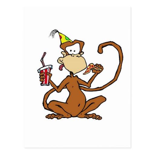 Funny Cartoon Pizza Monkey Postcard