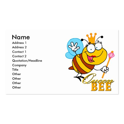 funny cartoon queen bee with text business card