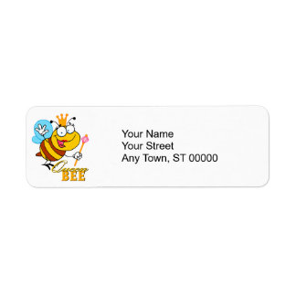 funny cartoon queen bee with text label