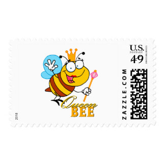 funny cartoon queen bee with text postage stamp
