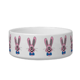 Funny Cartoon Rabbit with Bow Pet Bowl Cat Bowls