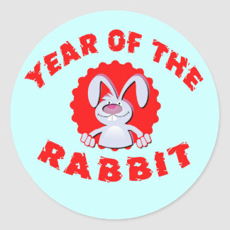 Funny Cartoon Rabbit Year of the Rabbit Gifts Round Stickers