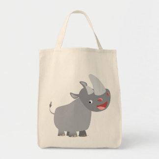 Funny Cartoon Rhino Grocery Tote Bag