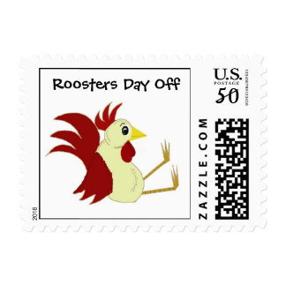 Funny Cartoon Rooster with Saying Postage