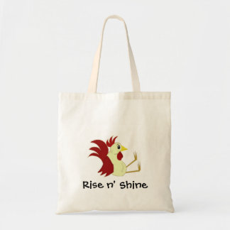 Funny Cartoon Rooster with Saying Tote Bag
