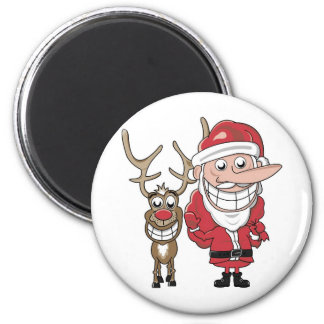 Funny Cartoon Santa and Rudolph 2 Inch Round Magnet