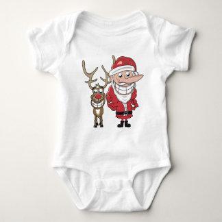Funny Cartoon Santa and Rudolph Baby Bodysuit