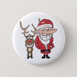 Funny Cartoon Santa and Rudolph Button