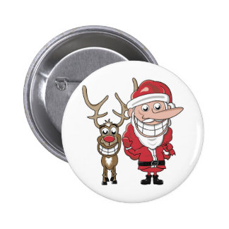 Funny Cartoon Santa and Rudolph 2 Inch Round Button