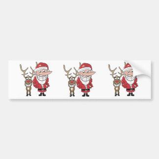 Funny Cartoon Santa and Rudolph Car Bumper Sticker