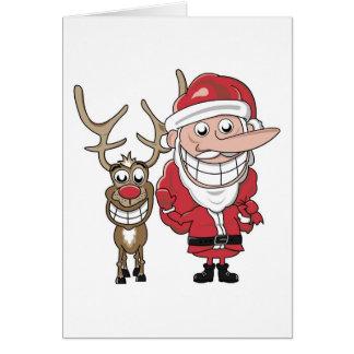 Funny Cartoon Santa and Rudolph Greeting Card