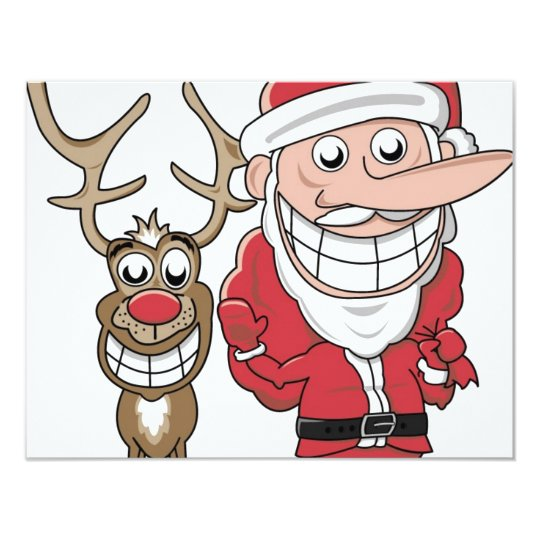 Funny Cartoon Santa and Rudolph Card