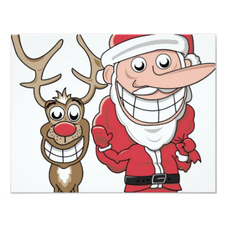 Funny Cartoon Santa and Rudolph Card
