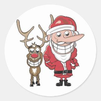 Funny Cartoon Santa and Rudolph Classic Round Sticker