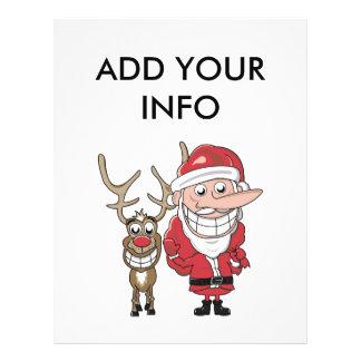 "Funny Cartoon Santa and Rudolph 8.5"" X 11"" Flyer"