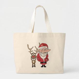 Funny Cartoon Santa and Rudolph Large Tote Bag