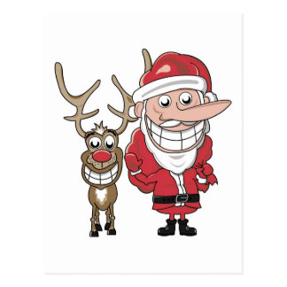 Funny Cartoon Santa and Rudolph Postcard