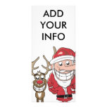 Funny Cartoon Santa and Rudolph Rack Card Design