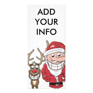Funny Cartoon Santa and Rudolph Rack Card Template
