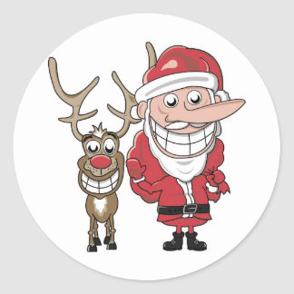 Funny Cartoon Santa and Rudolph Classic Round Sticker