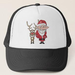 3797233a Funny Cartoon Santa and Rudolph Trucker Hat
