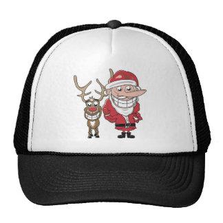 Funny Cartoon Santa and Rudolph Trucker Hat