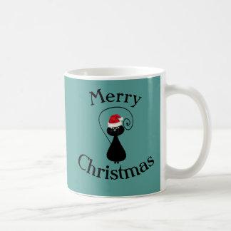 Funny cartoon Santa cat christmas Classic White Coffee Mug